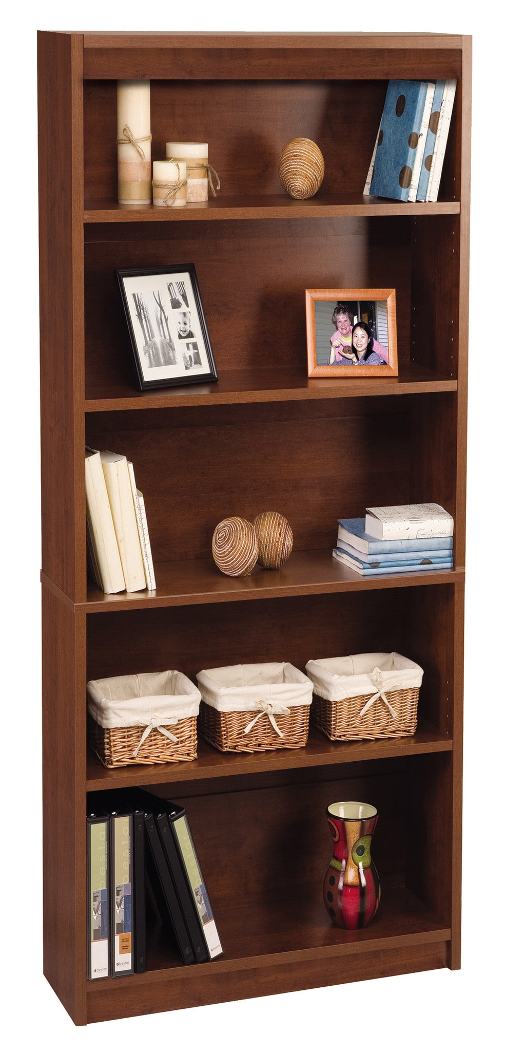 "Contemporary 72"" 5 Shelf Bookcase in Tuscany Brown"