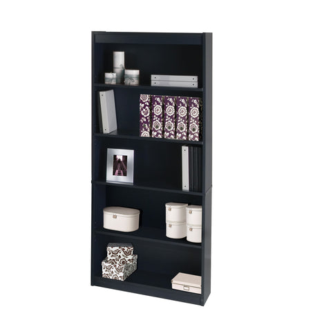 "Contemporary 72"" 5 Shelf Bookcase in Charcoal Finish"