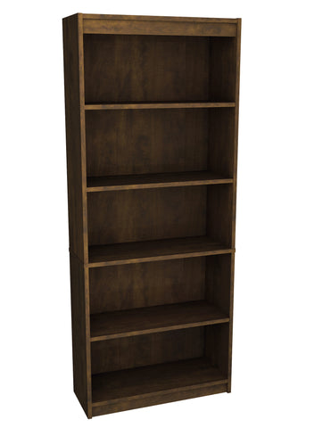 "Contemporary 72"" 5 Shelf Bookcase in Chocolate"