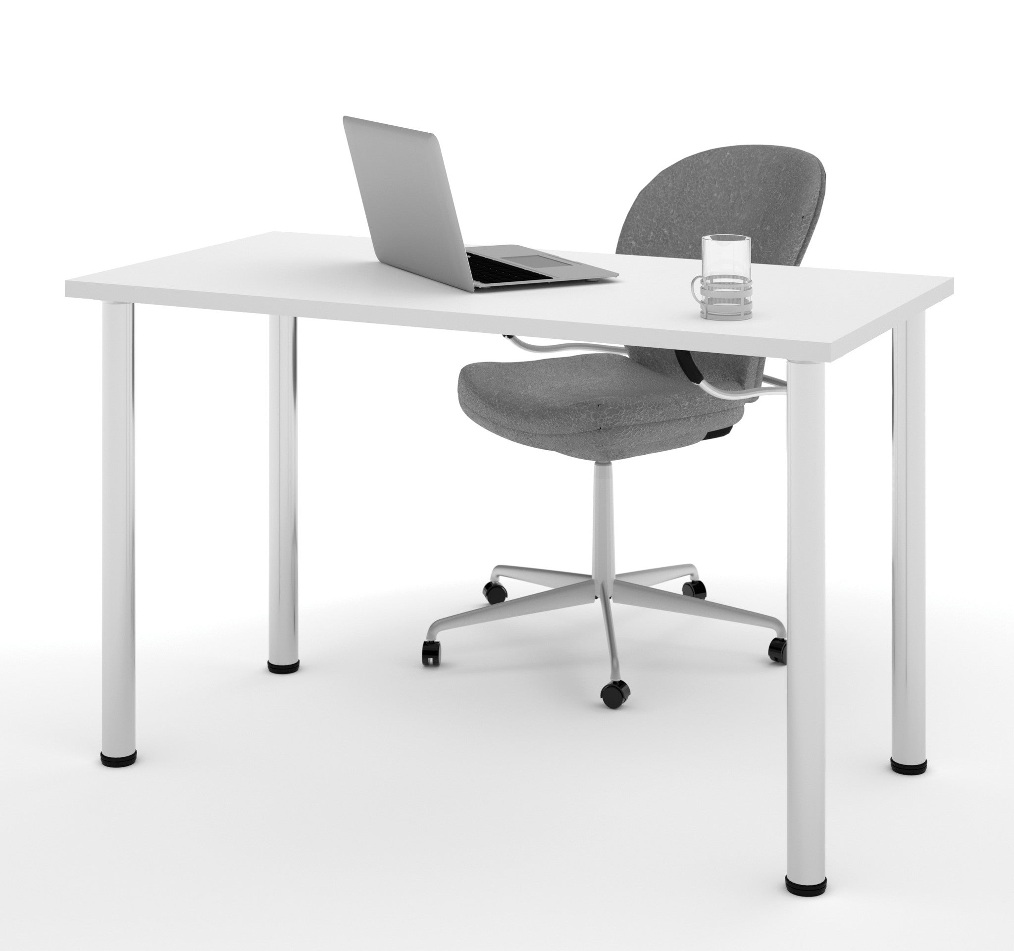 "Modern 48"" Office Desk with Premium White Top & Silver Legs"