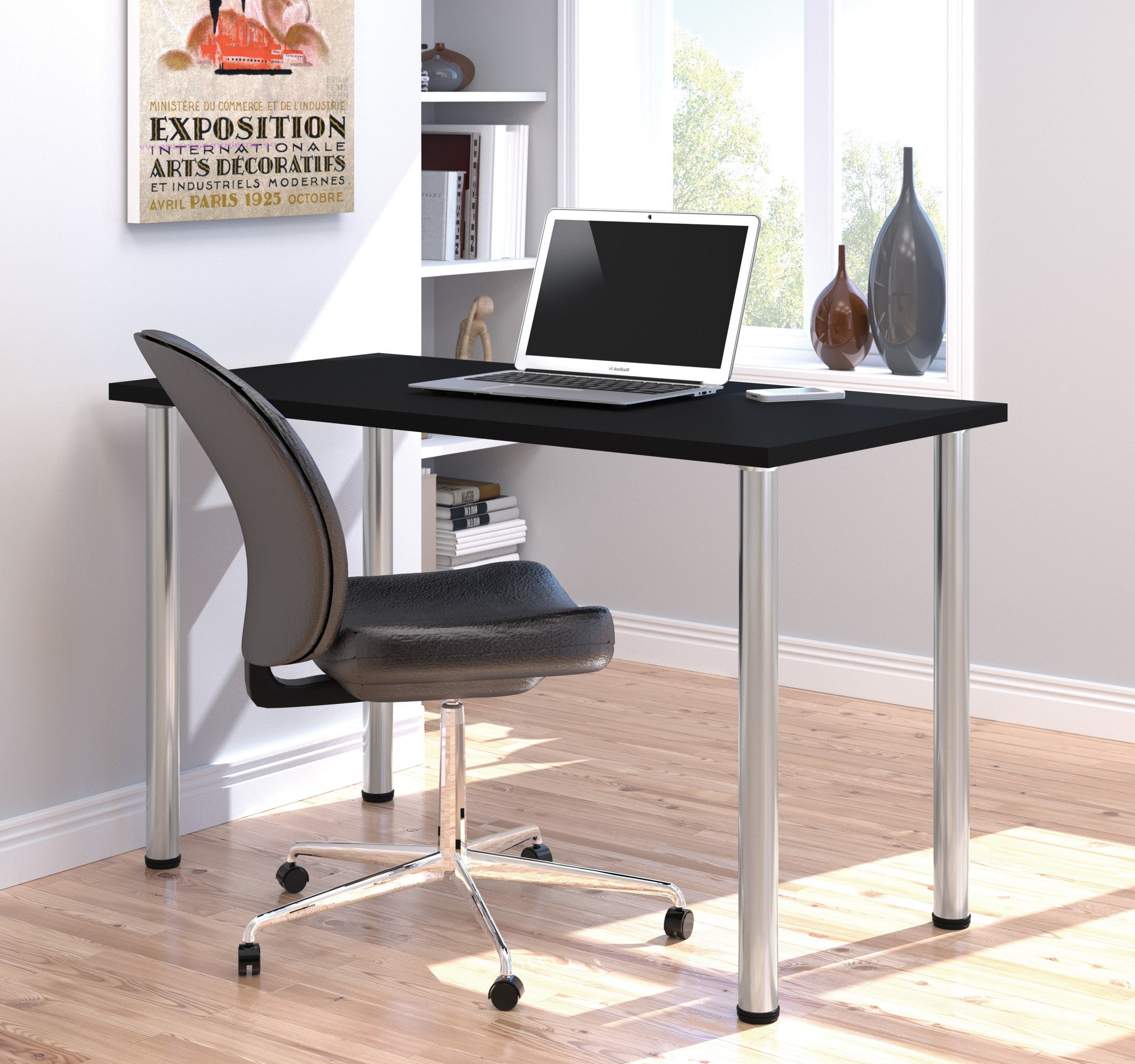 "Modern 48"" Office Desk with Premium Black Top & Silver Legs"