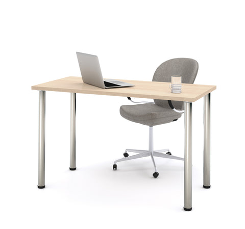 "Modern 48"" Office Desk with Premium Northern Maple Top & Silver Legs"