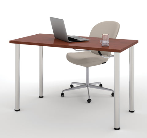 "Modern 48"" Office Desk with Premium Bordeaux Top & Silver Legs"