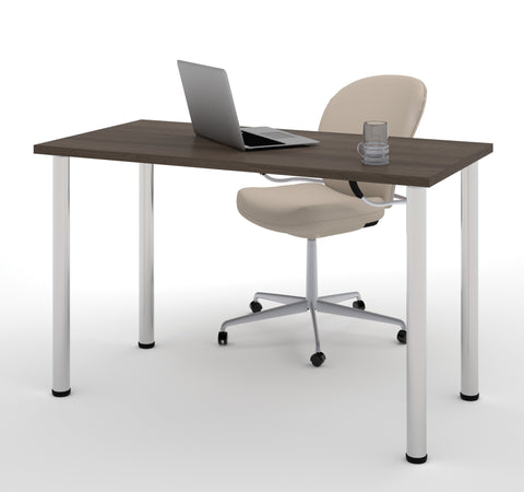 "Modern 48"" Office Desk with Premium Antigua Top & Silver Legs"