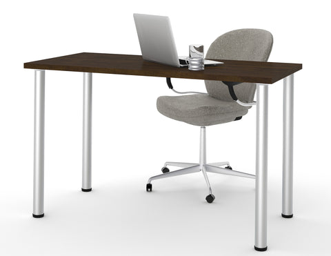 "Modern 48"" Office Desk with Premium Chocolate Top & Silver Legs"