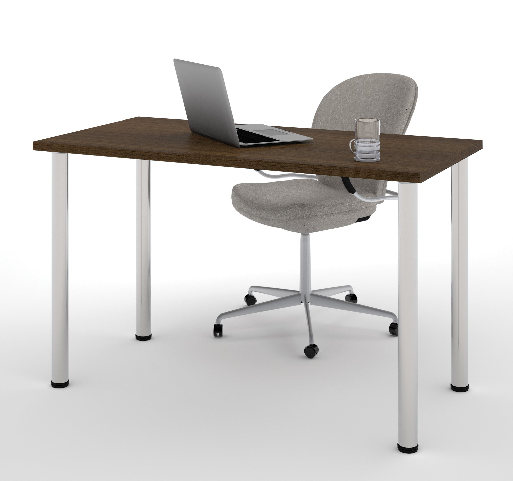"Modern 48"" Office Desk with Premium Tuxedo Top & Silver Legs"