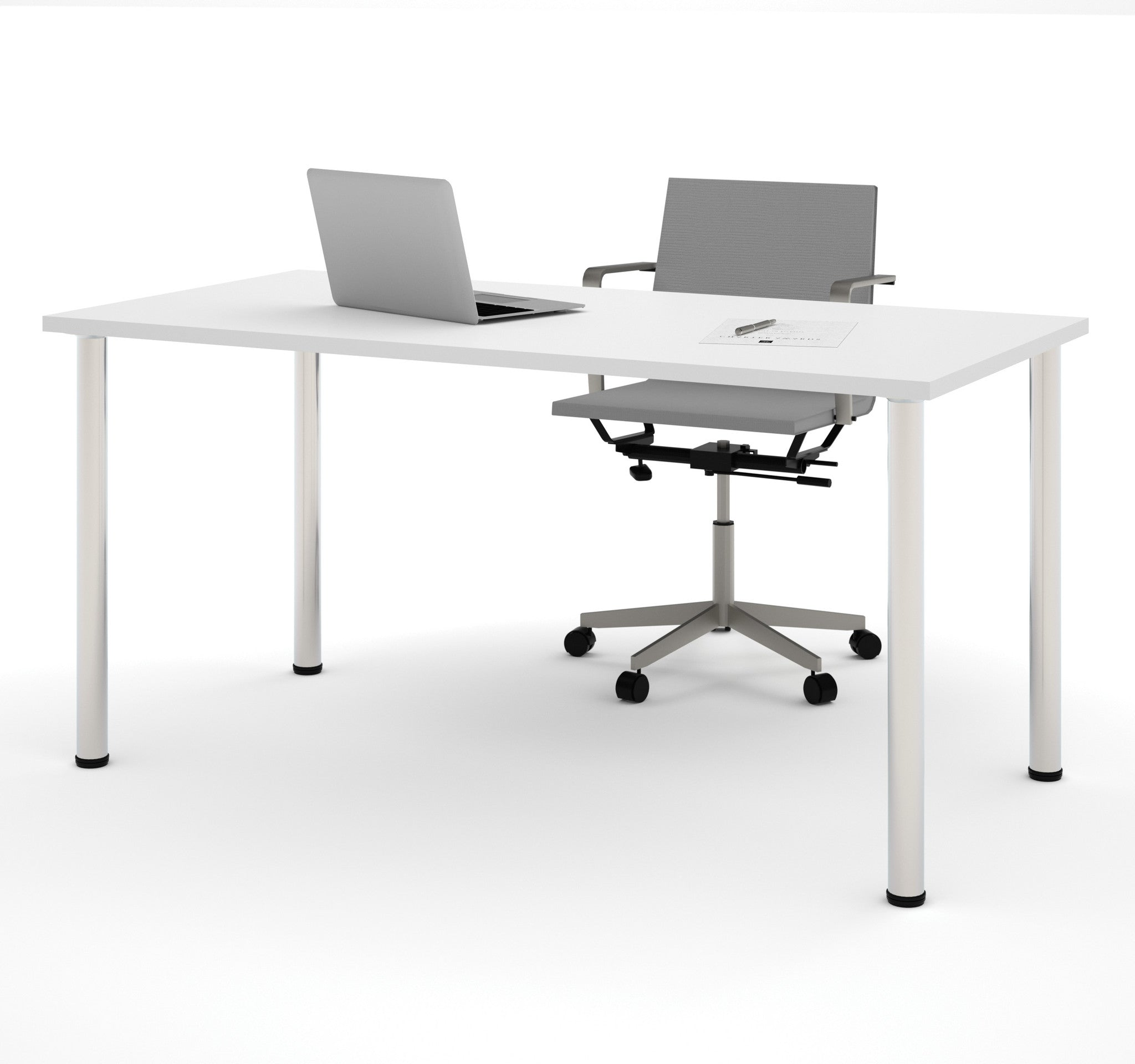 "Modern 60"" Office Desk with Premium White Top & Silver Legs"