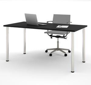 "Modern 60"" Office Desk with Premium Black Top & Silver Legs"