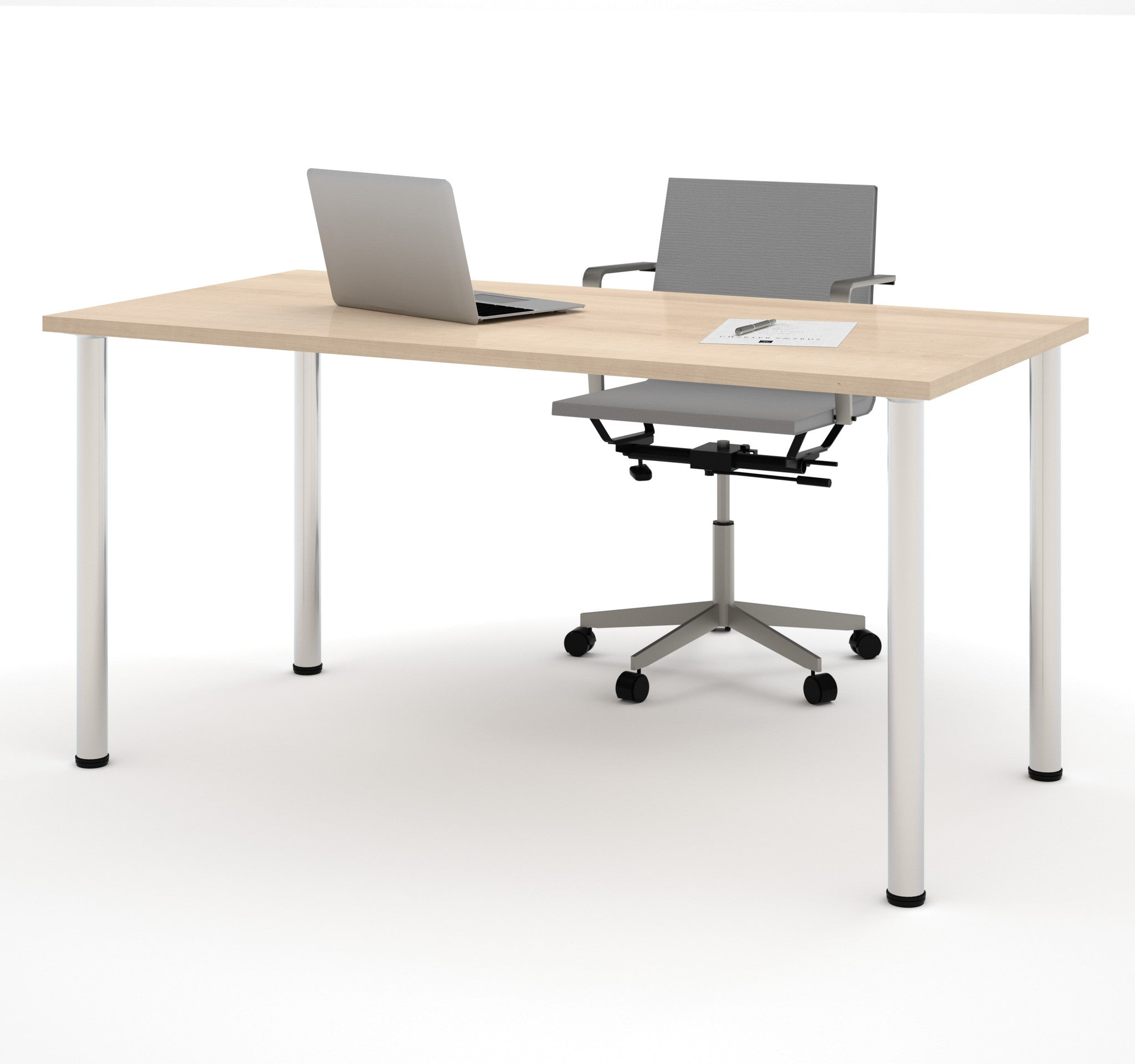 "Modern 60"" Office Desk with Premium Northern Maple Top & Silver Legs"
