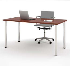 "Modern 60"" Office Desk with Premium Bordeaux Top & Silver Legs"