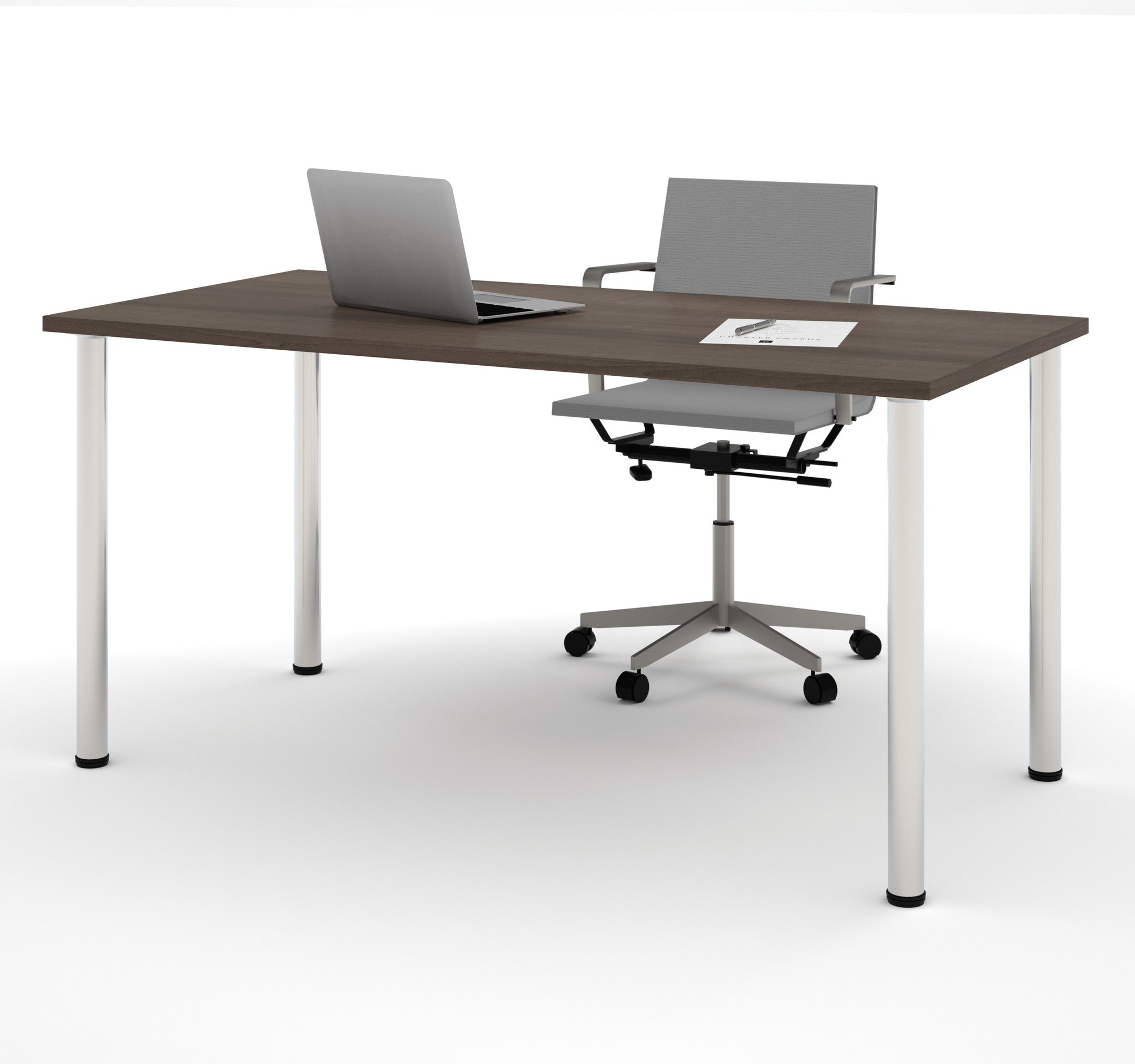 "Modern 60"" Office Desk with Premium Antigua Top & Silver Legs"