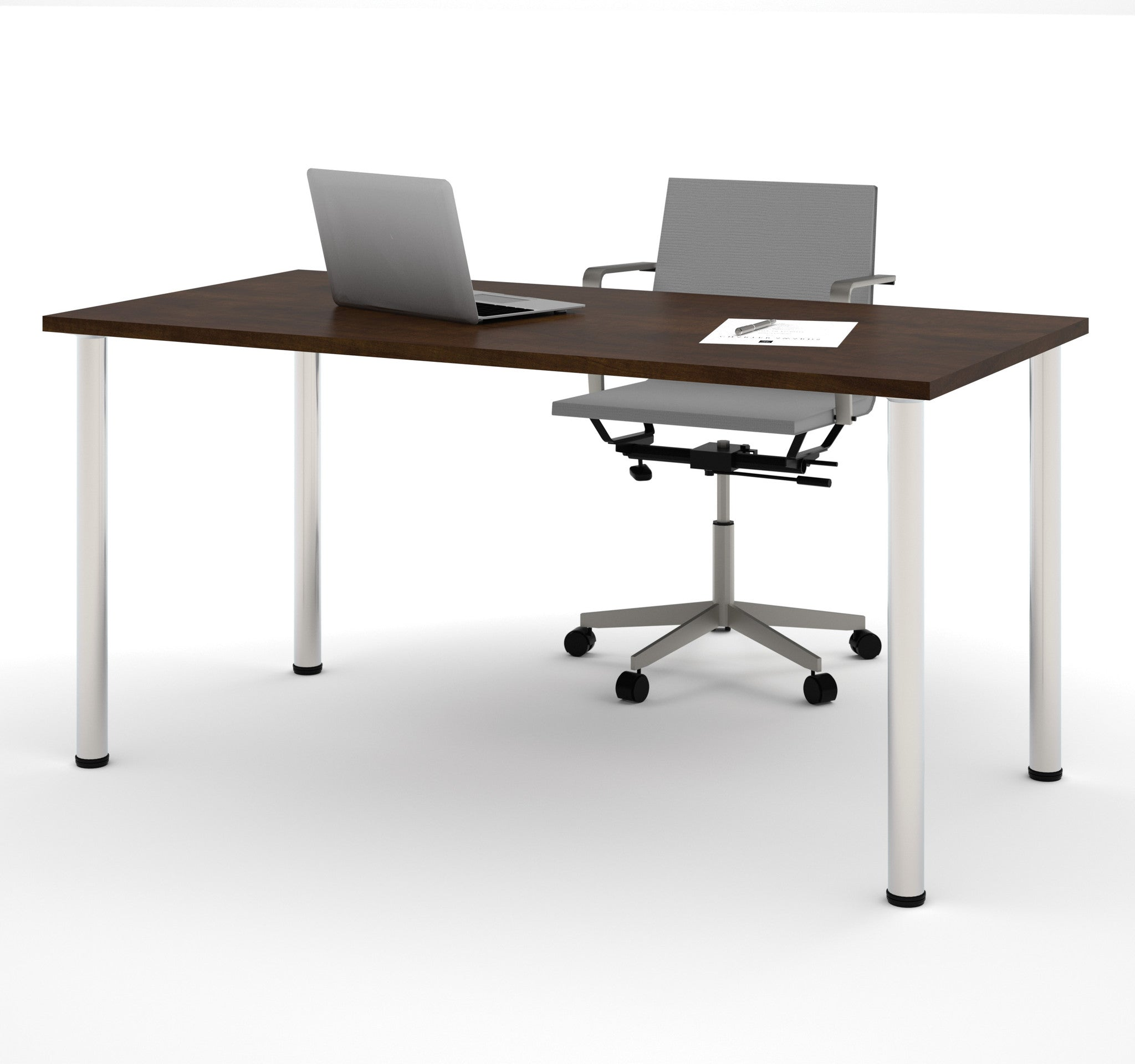 "Modern 60"" Office Desk with Premium Chocolate Top & Silver Legs"