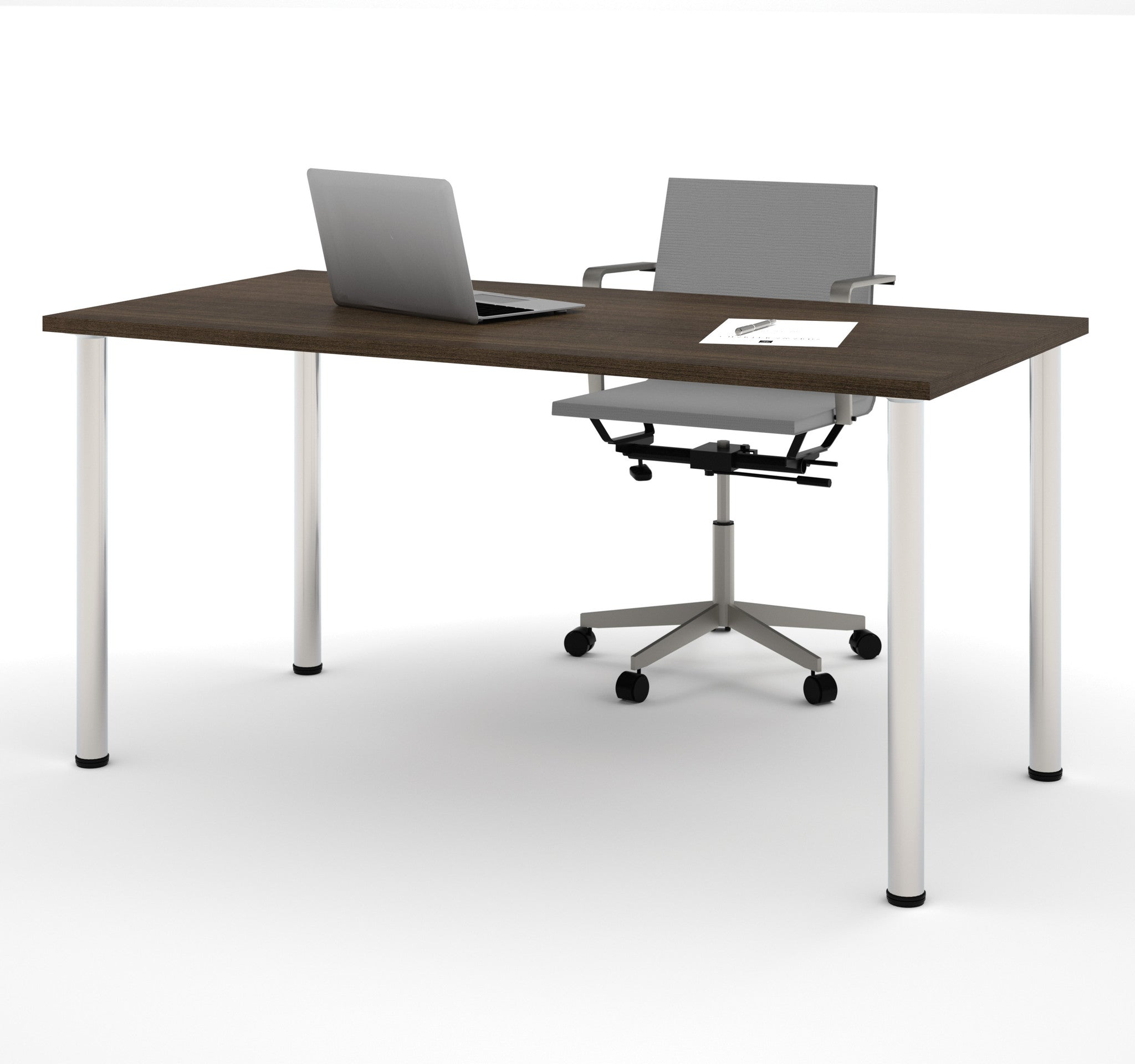 "Modern 60"" Office Desk with Premium Tuxedo Top & Silver Legs"