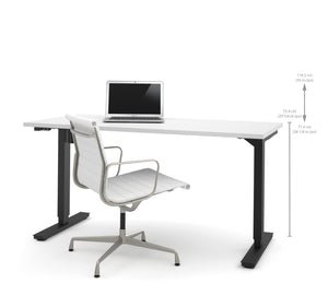 "60"" Sit-Stand Electric Height Adjustable Office Desk in White (28"" - 45"" H)"