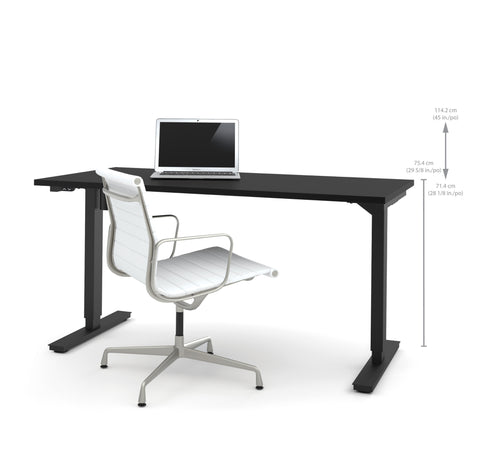 "60"" Sit-Stand Electric Height Adjustable Office Desk in Black (28"" - 45"" H)"