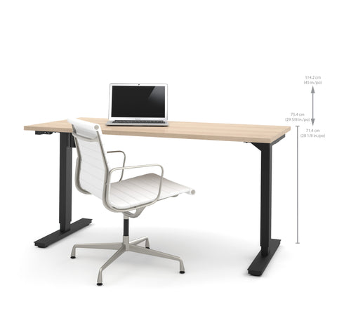 "60"" Sit-Stand Electric Height Adjustable Office Desk in Northern Maple (28"" - 45"" H)"