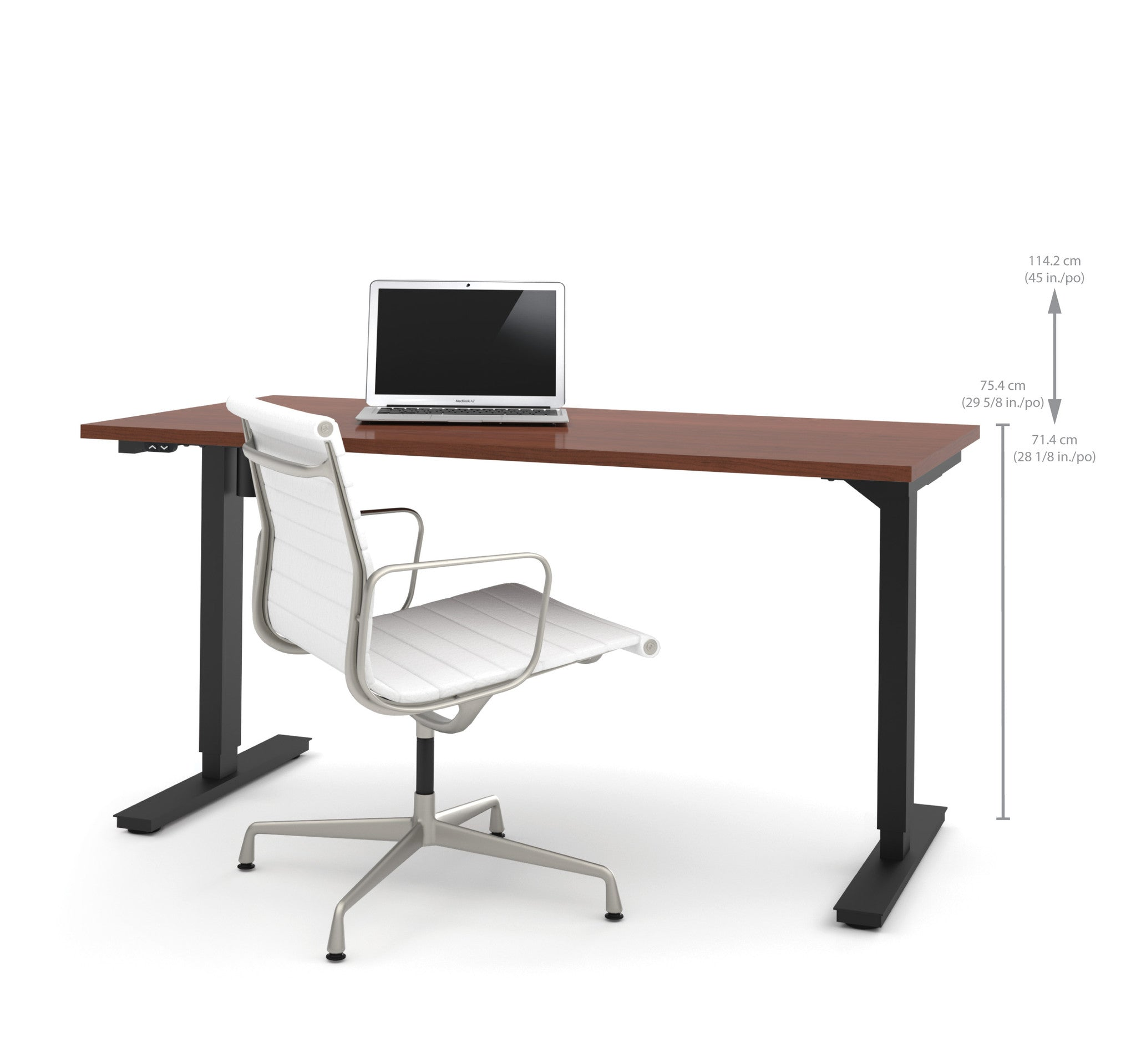 "60"" Sit-Stand Electric Height Adjustable Office Desk in Bordeaux (28"" - 45"" H)"