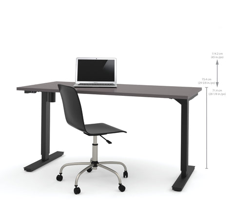 "60"" Sit-Stand Electric Height Adjustable Office Desk in Slate (28"" - 45"" H)"