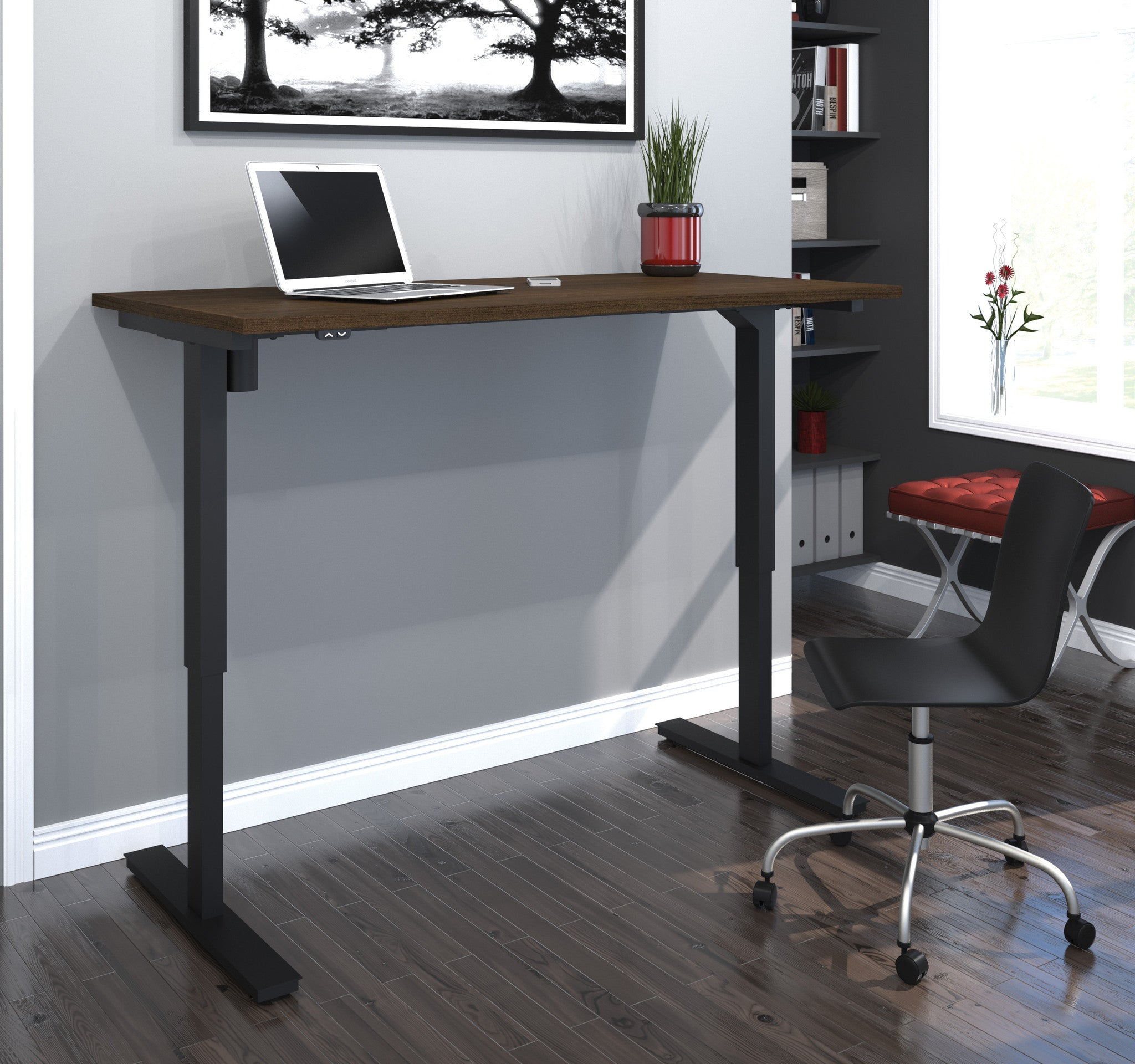 "60"" sit-stand electric height adjustable office desk in tuxedo (28"