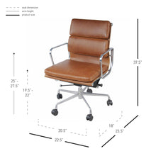 Load image into Gallery viewer, Low-Back Padded Office Chair in Vintage Tawny