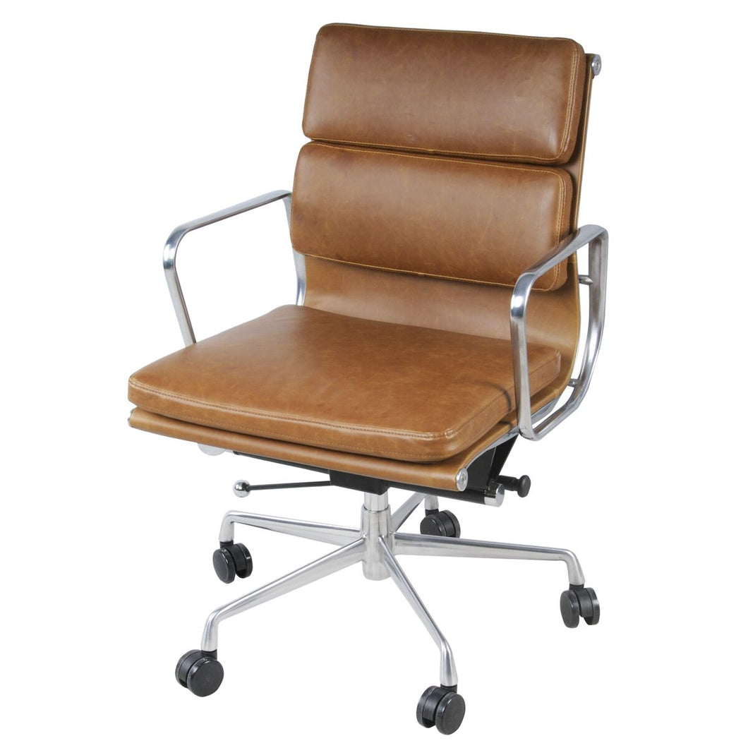 Low-Back Padded Office Chair in Vintage Tawny