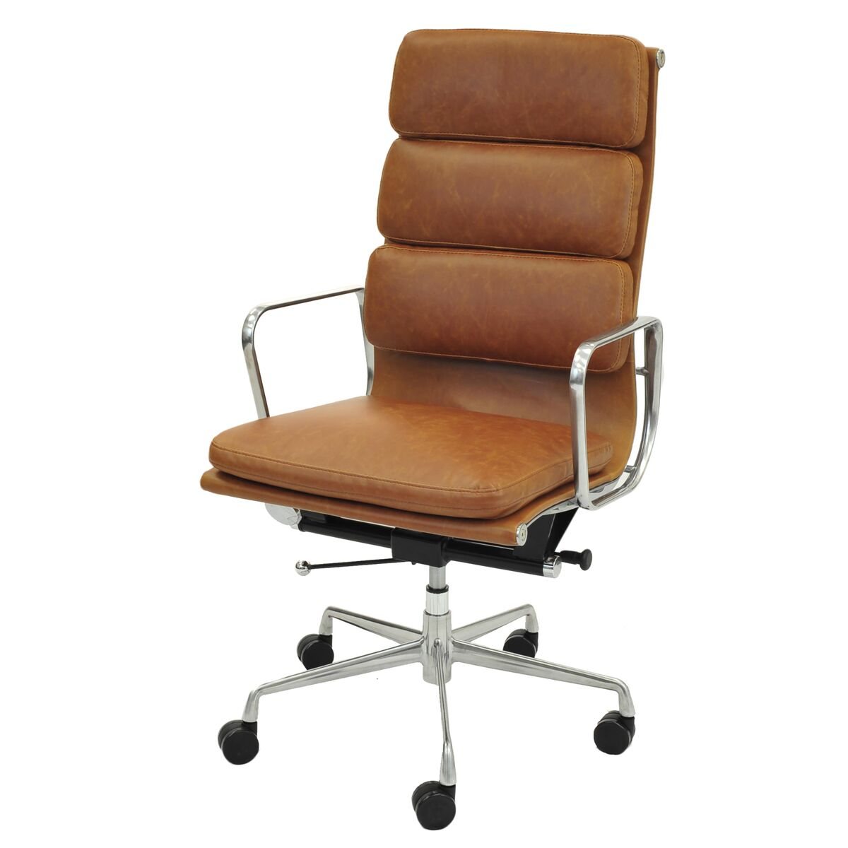 High-Back Padded Office Chair in Vintage Tawny