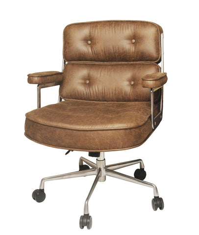 Nubuck Brown Fabric Office Chair w/ Wheels