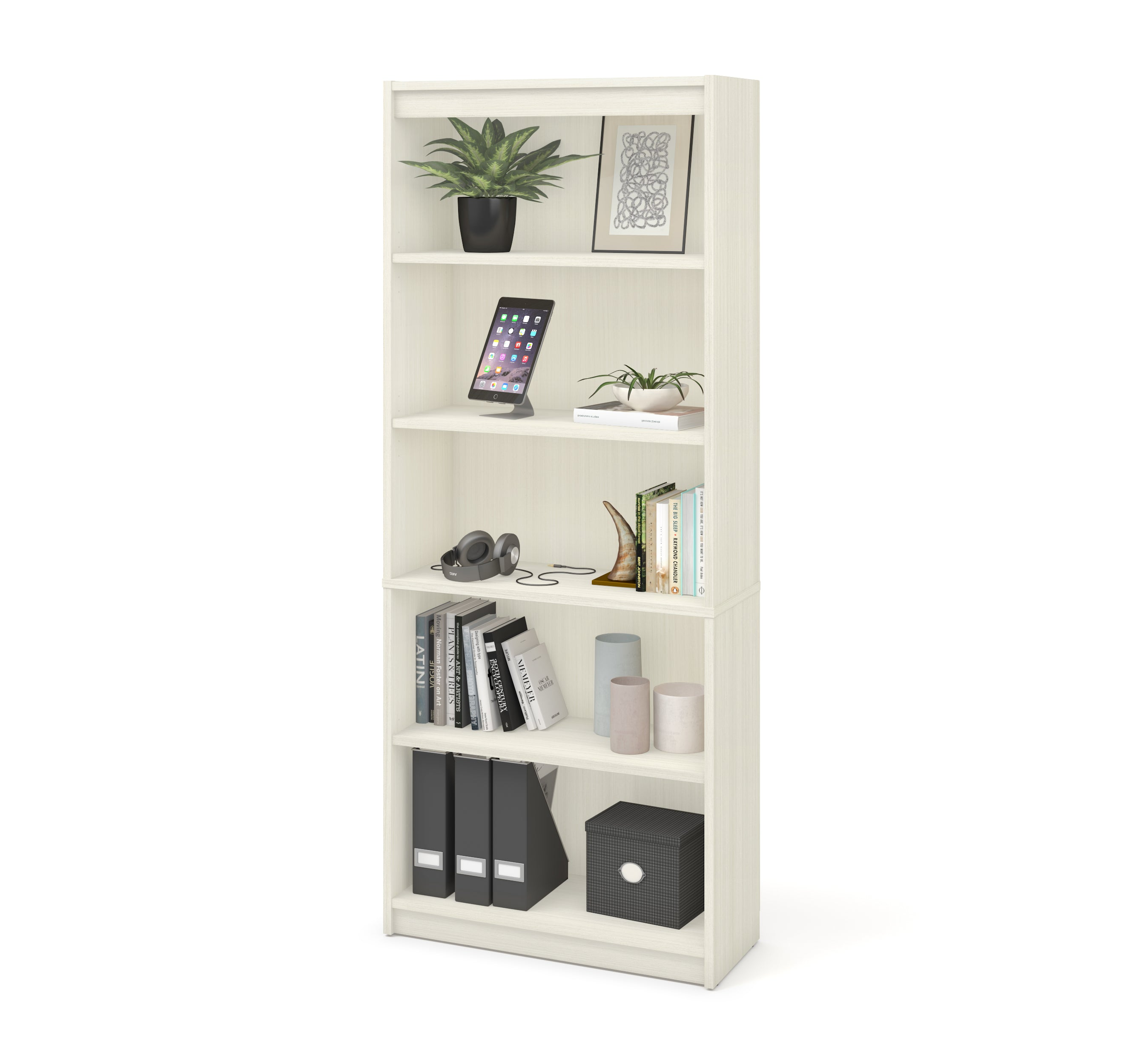 "Contemporary 72"" 5 Shelf Bookcase in White Chocolate"