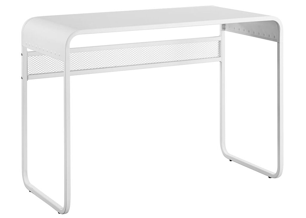 "Modern 42"" White Metal Writing or Computer Desk"