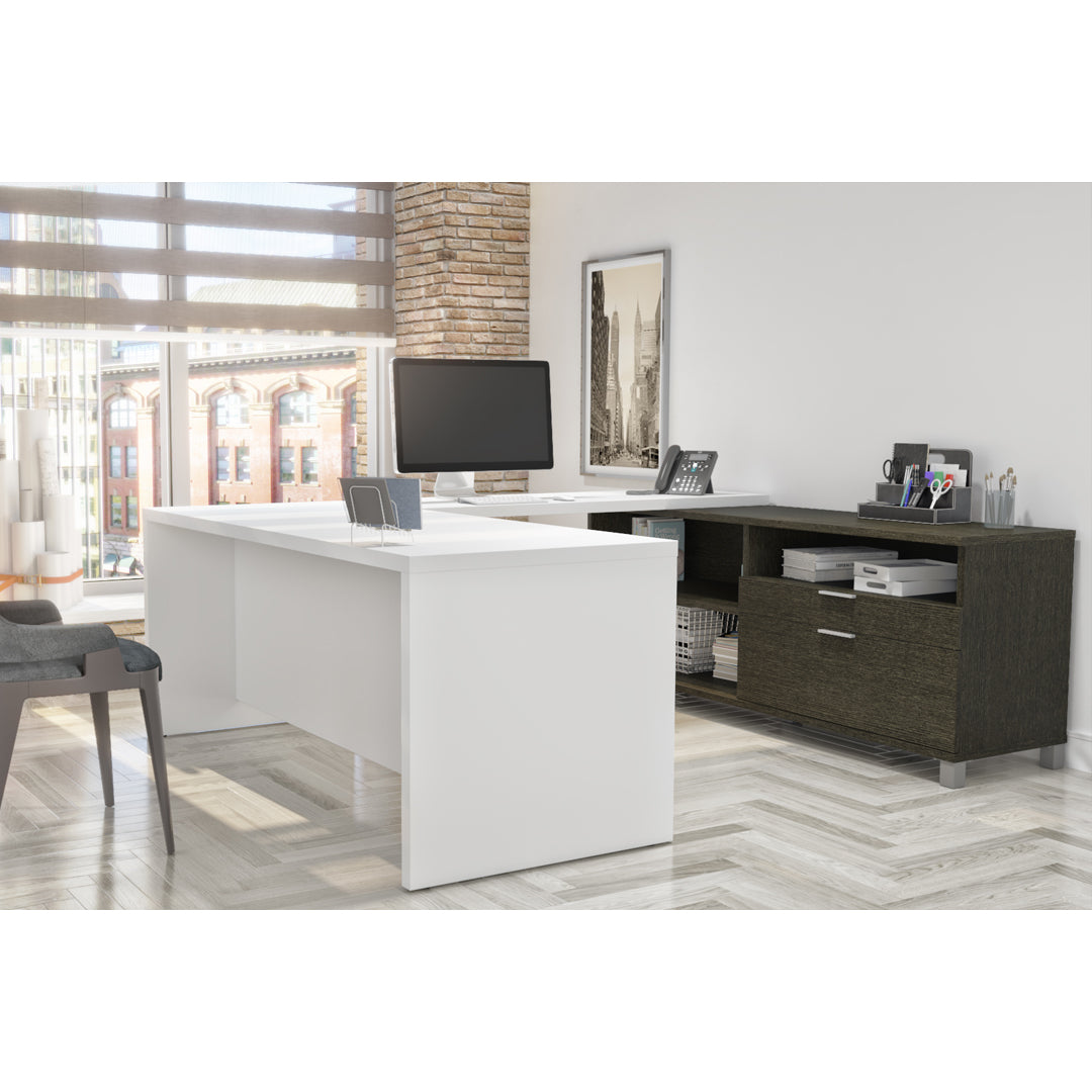 Premium Modern U-shaped Desk in White & Deep Gray
