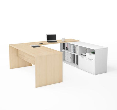 U-Shaped Northern Maple Office Desk and White Credenza