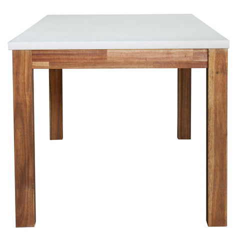 "Modern 71"" Concrete & Acacia Wood Executive Desk"