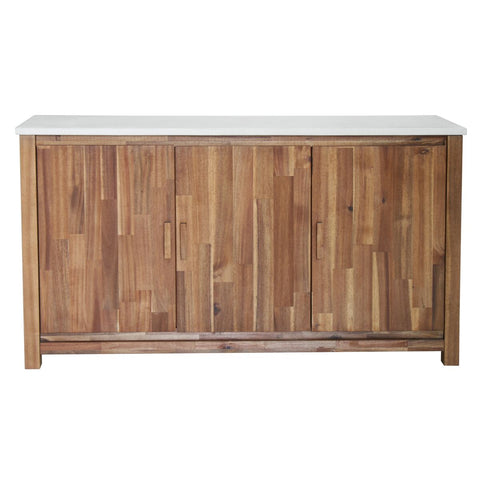 Concrete Top & Acacia Wood Credenza w/ Woodgrain Design