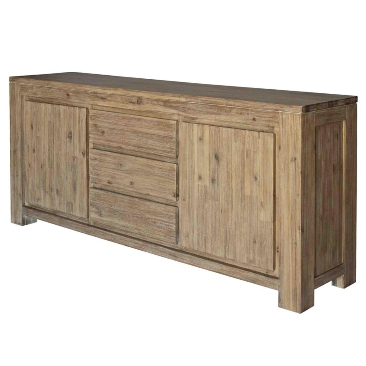 Symmetrical Acacia Wood Storage Credenza