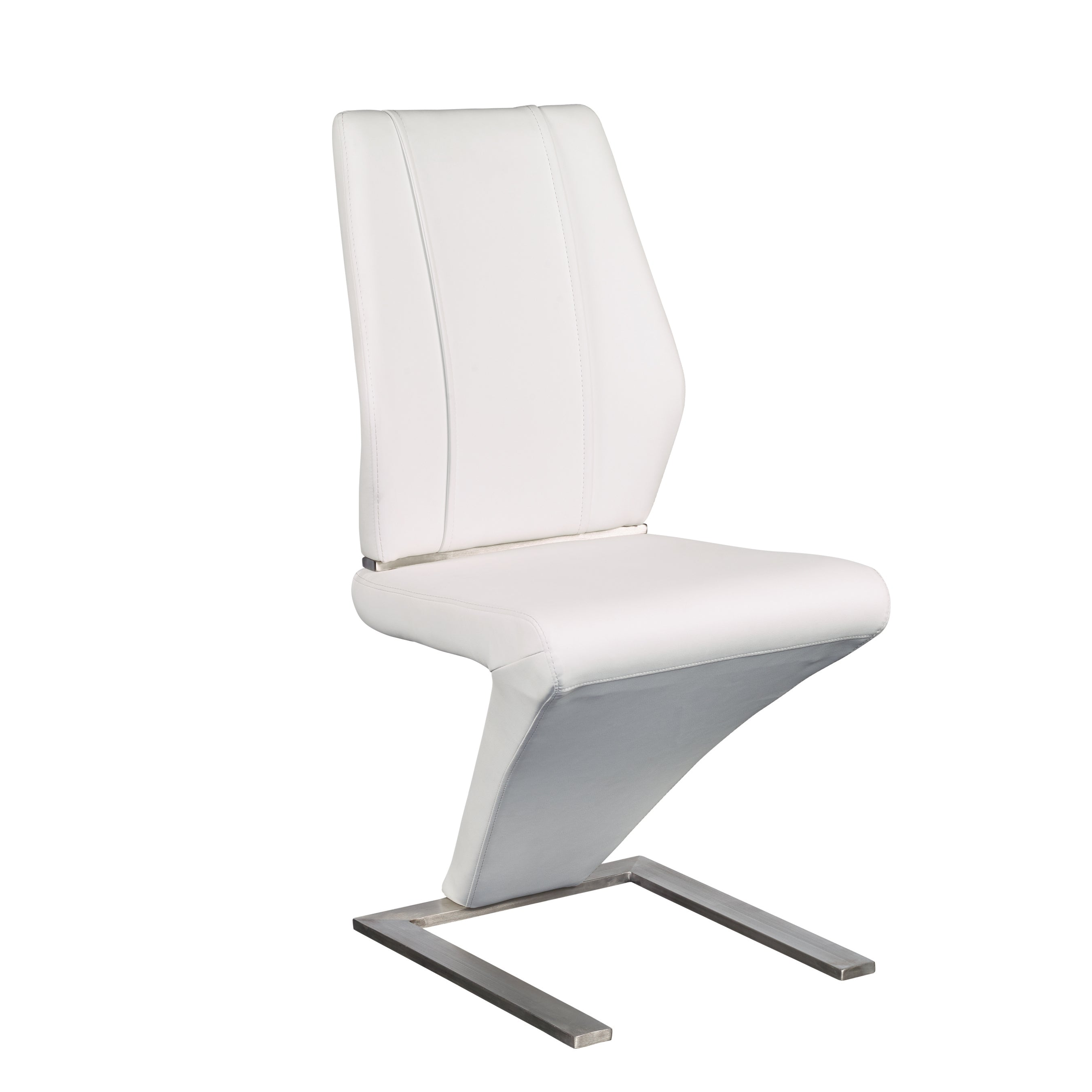 Modern White Leatherette Guest or Conference Chairs (Set of 2)