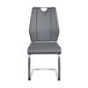 Gray Leatherette and Stainless Steel Guest or Conference Chair (Set of 2)