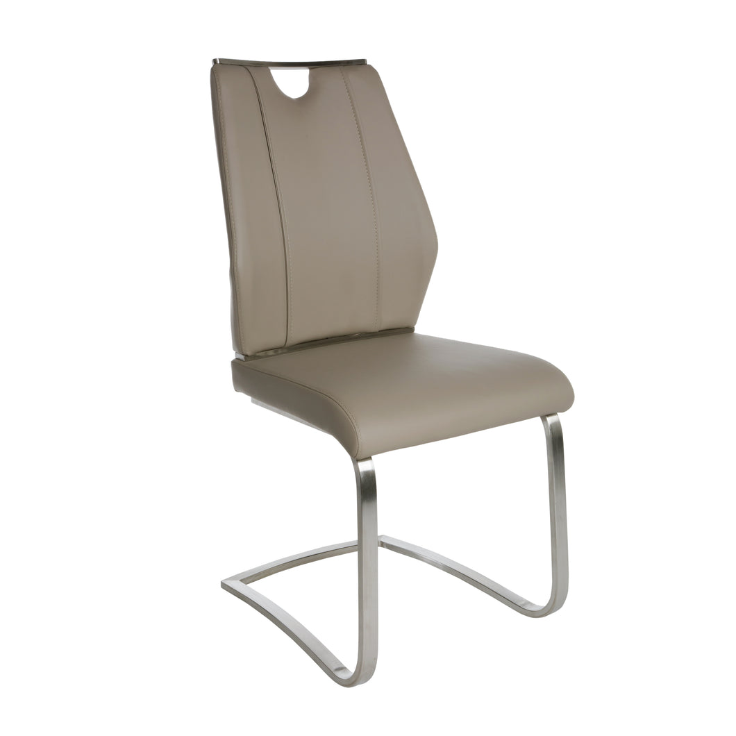 Taupe Leatherette and Stainless Steel Guest or Conference Chair (Set of 2)