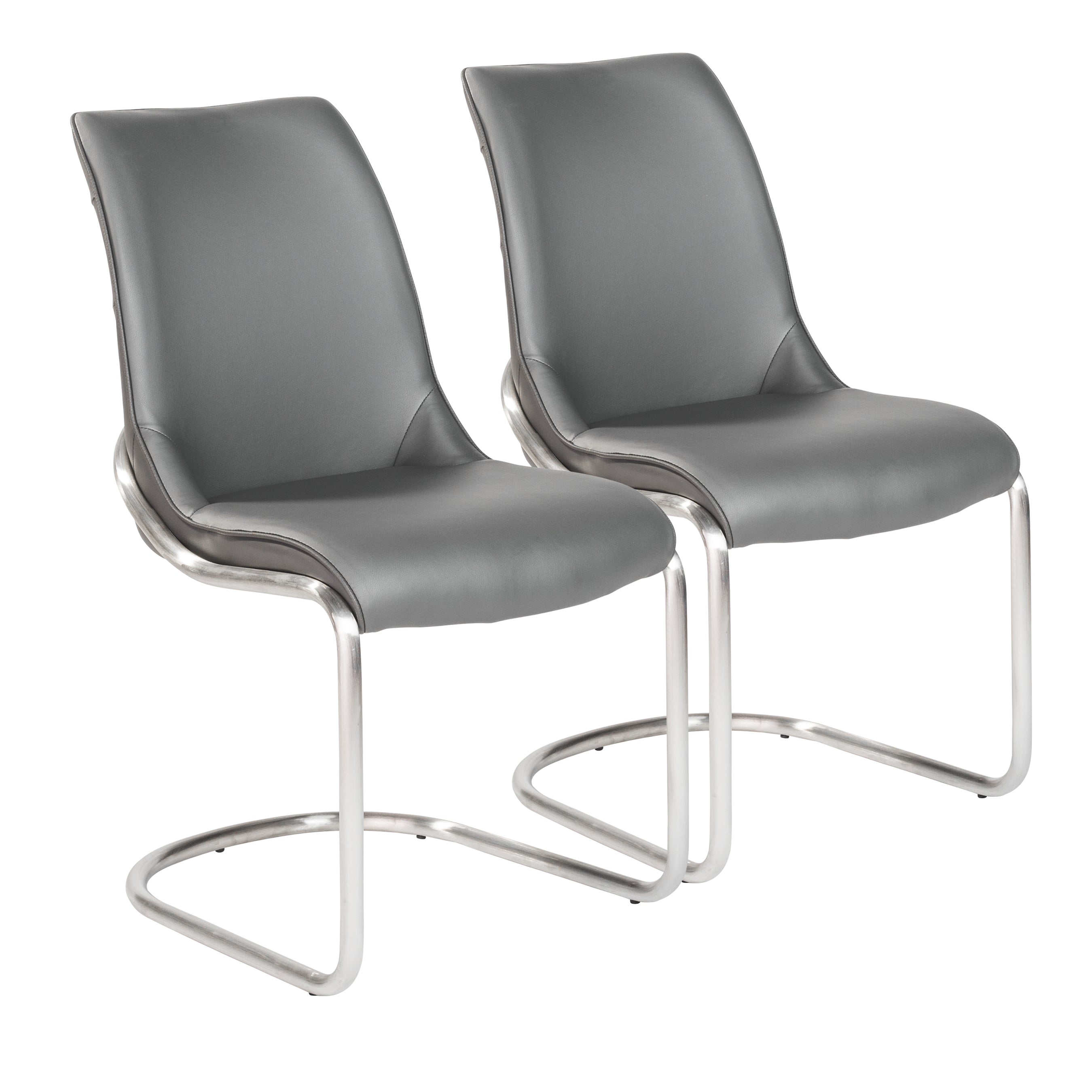 Versatile Light Gray Leatherette Guest or Conference Chairs (Set of 2)
