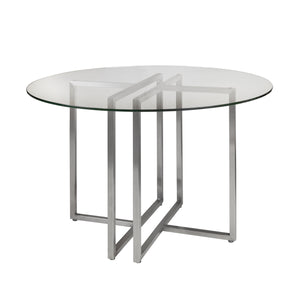"Clear Glass & Brushed Stainless Steel 42"" Meeting Table"