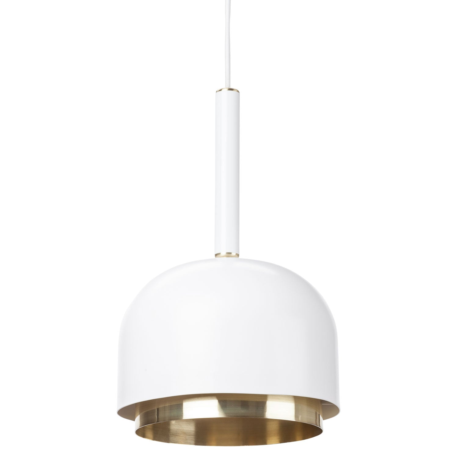Clean White Steel Pendant Lamp with Brass Accent