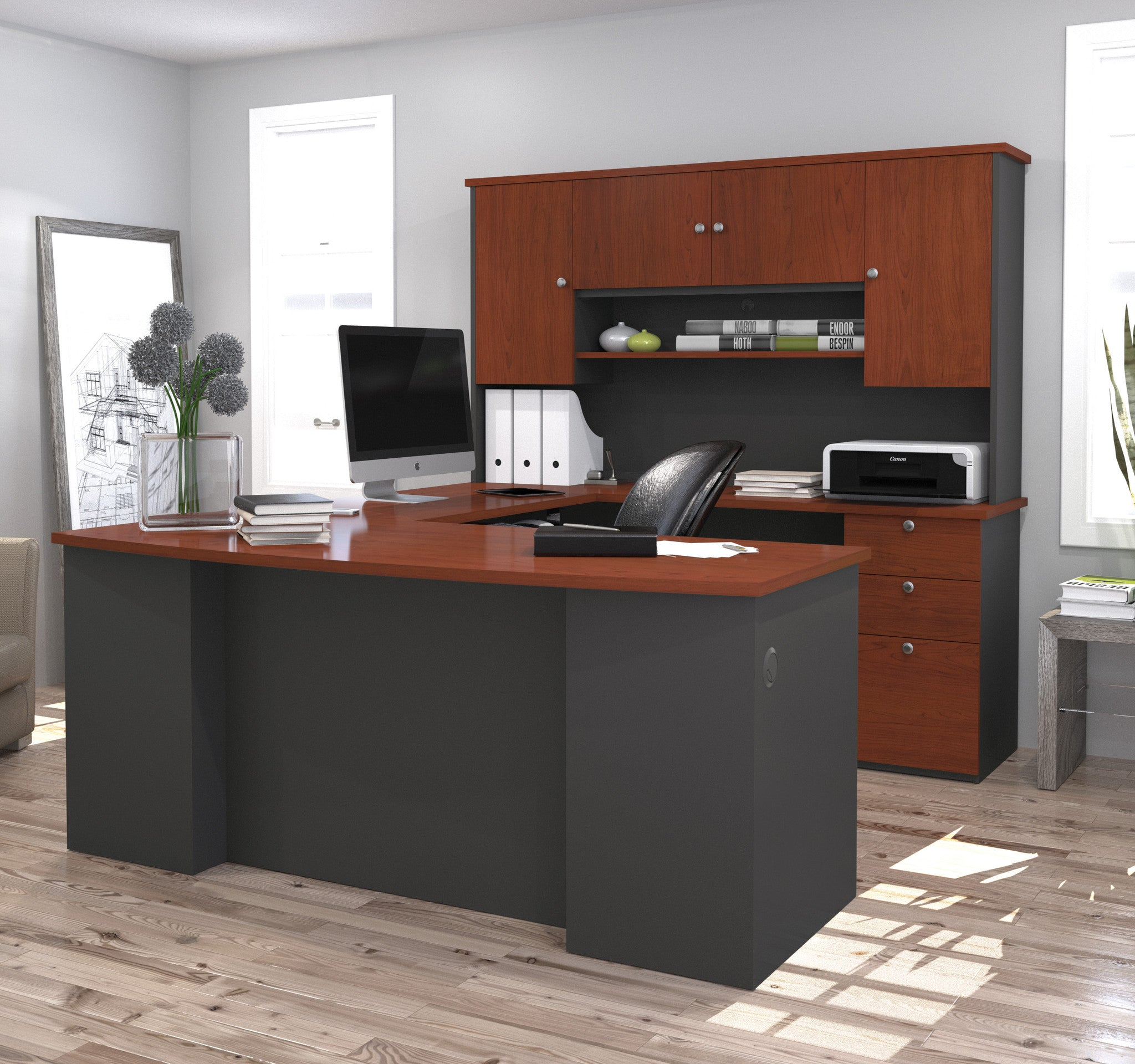 Manhattan Collection Bordeaux & Graphite U-shaped Desk with Hutch