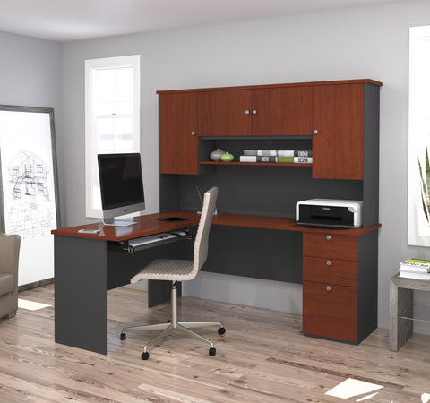 Manhattan Collection Bordeaux & Graphite L-shaped Desk with Hutch