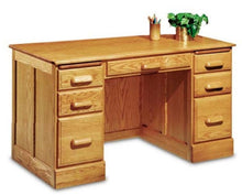 "Load image into Gallery viewer, 54"" Handcrafted Solid Oak Double Pedestal Executive Desk with Finish Options"