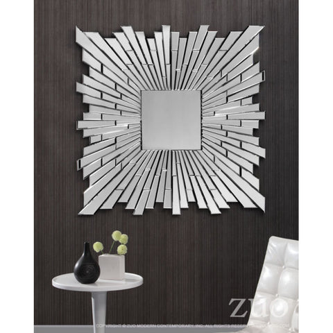 Elegant Square Mirror w/ Radiating Lines Design