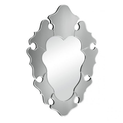 Elegant Gray Framed Mirror in Waved Style