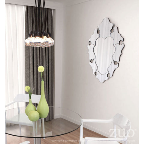 Elegant Clear Framed Mirror in Waved Style