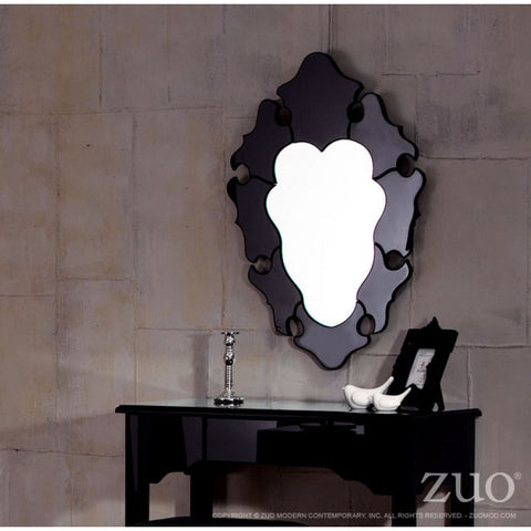 Elegant Black Framed Mirror in Waved Style