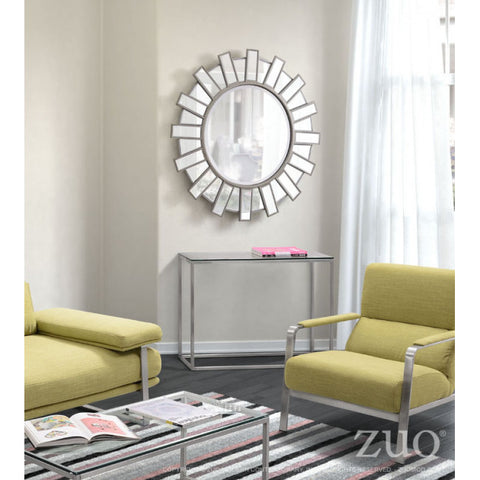 Modern Round Mirror w/ Radiating Lines Design
