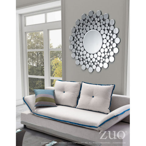 Elegant Round Office Mirror in Pebble Mosaic Design