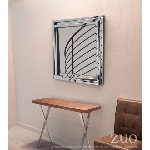 Office Wall Mirror w/ Square Mirrored Frame
